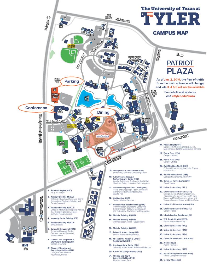 U T Tyler Campus Map TUMC 2019 | Texas Section MAA